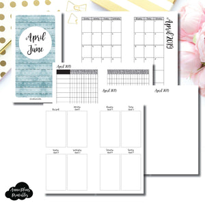 Personal Rings Size | APR - JUN  2019 | Vertical Week on 2 Page (Monday Start) Printable Insert ©