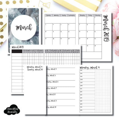 Passport TN Size | MAR 2019 | Month/Weekly/Daily TIMED (Monday Start) Printable Insert ©