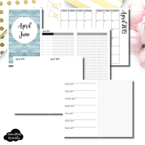 Half Letter Rings Size | APR - JUN 2019 | Horizontal Week on 1 Page + GRID (Monday Start) Printable Insert ©