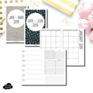 Cahier TN Size | JAN - MAR & APR - JUN 2019 | Week on 1 Page (Monday Week Start) With Trackers + Lists Printable Insert ©