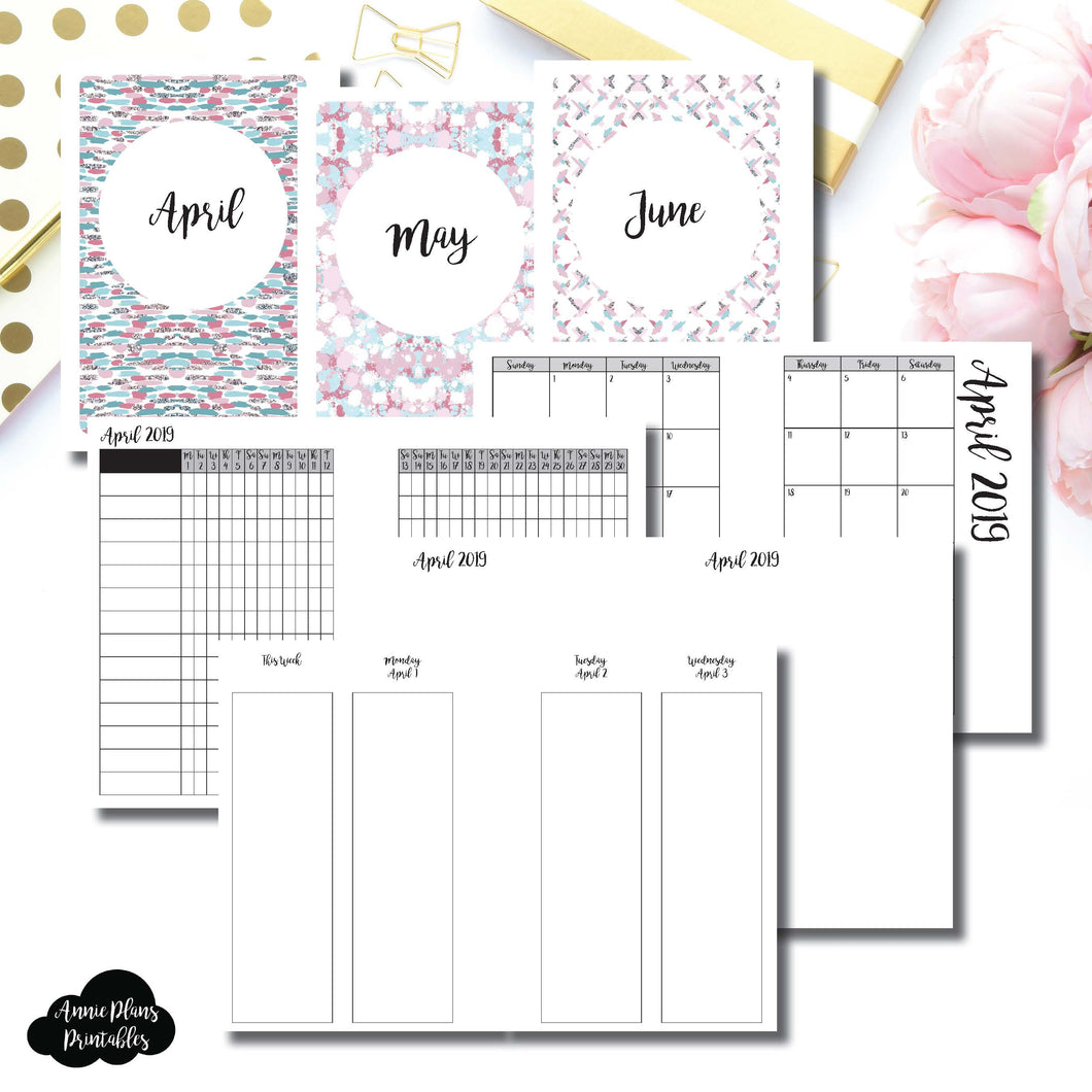 A6 Rings Size | APR - JUN 2019 | Week on 4 Pages (Monday Start) Vertical Layout | Printable Insert ©