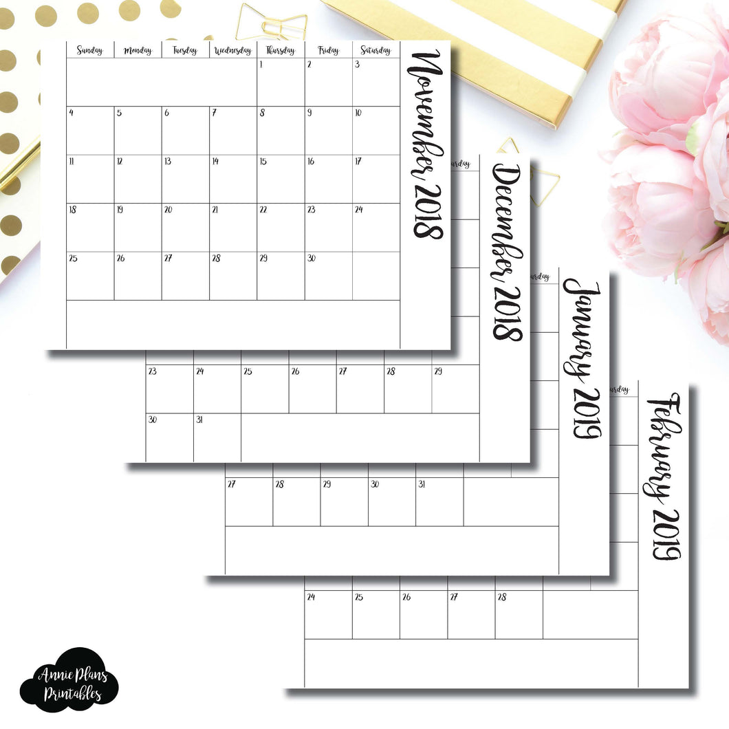 Personal Rings Size | 2019 Single Fold Over Monthly Calendar Printable Insert ©