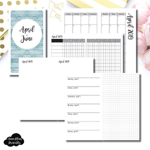 Personal TN Size | APR - JUN 2019 | Horizontal Week on 1 Page + GRID (Monday Start) Printable Insert ©