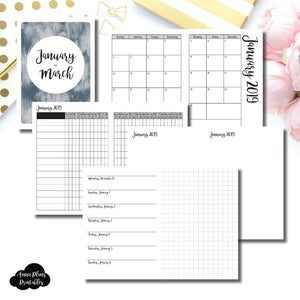 A6 TN Size | JAN - MAR 2019 | Horizontal Week on 1 Page + GRID (Monday Start) Printable Insert ©