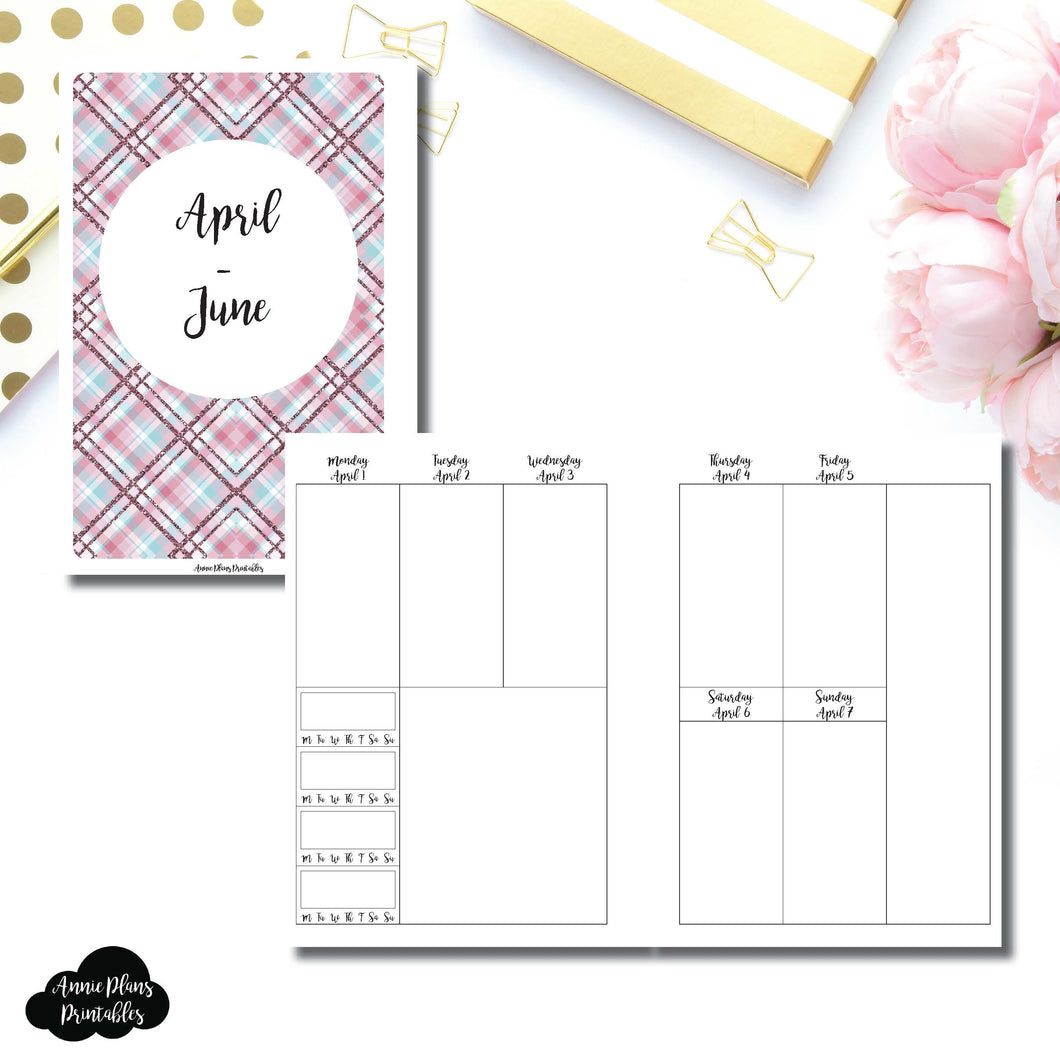 Personal Wide Rings Size | APR - JUN 2019 | BASIC Vertical Week on 2 Page (Monday Start) With Trackers Printable Insert ©