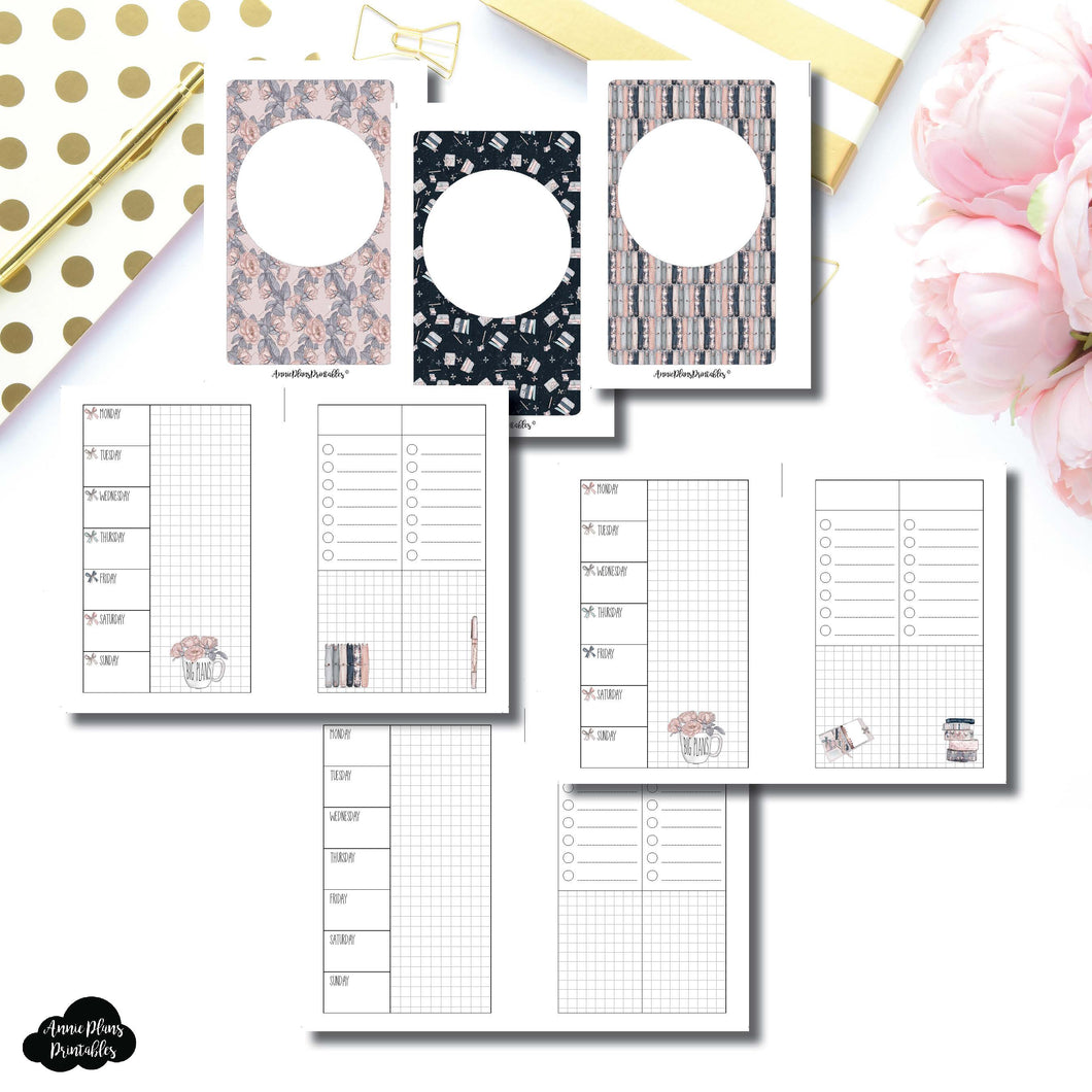 Pocket Rings Size | Undated Week on 2 Page Collaboration Printable Insert ©