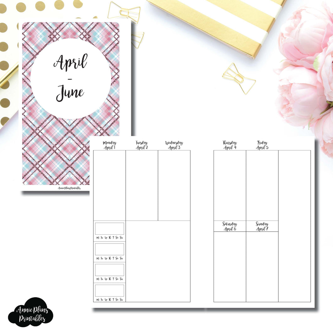 Mini HP Size | APR - JUN 2019 | BASIC Vertical Week on 2 Page (Monday Start) With Trackers Printable Insert ©