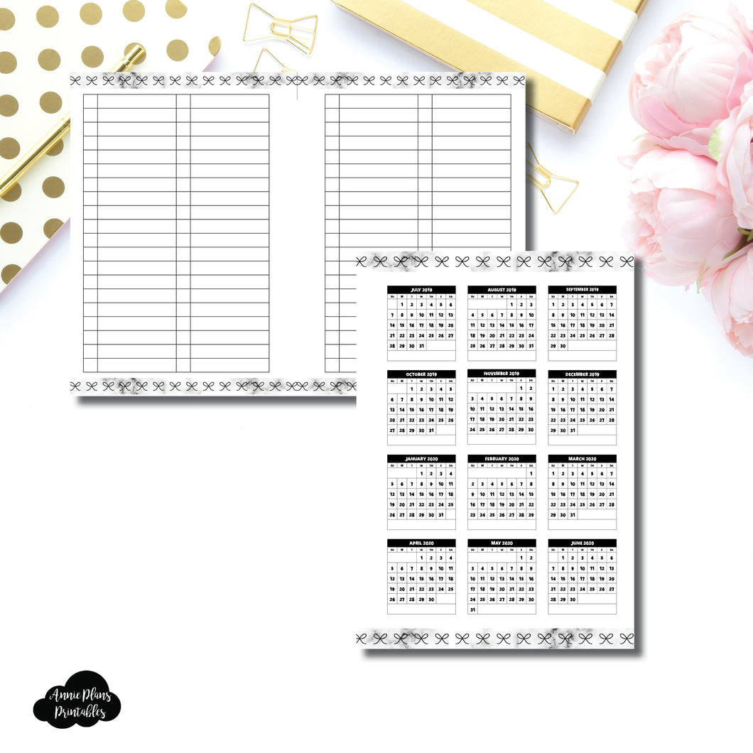 H Weeks Size | 2019 - 2020 Academic Year at a Glance Printable Insert ©