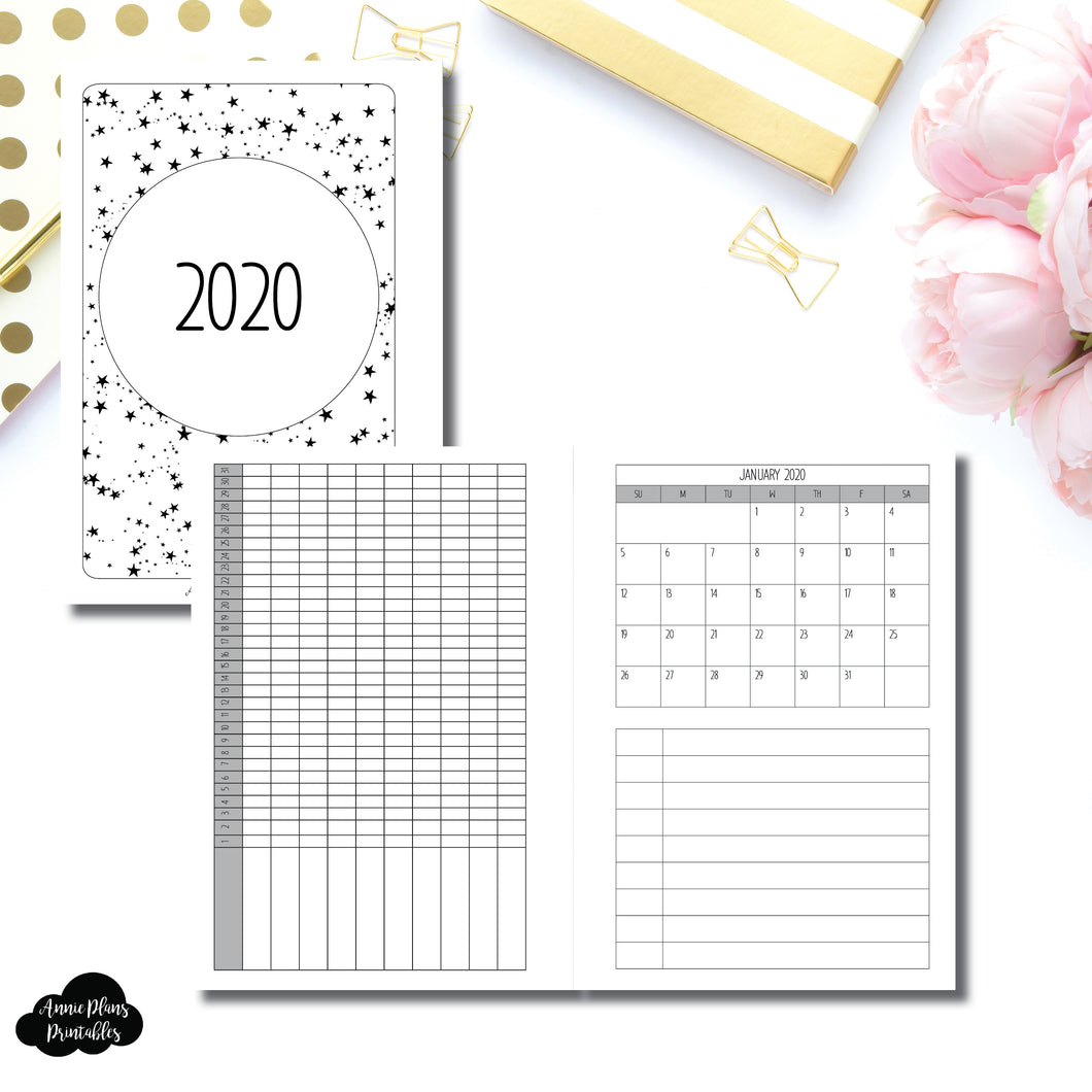 A6 Rings Size | 2020 Single Page Monthly + Tracker Printable Insert ©