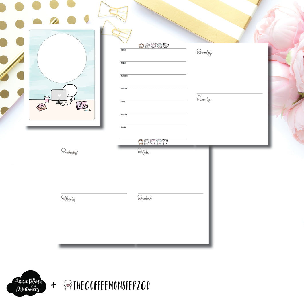 Classic HP Size | TheCoffeeMonsterzCo Collaboration Undated Week on 4 Pages Printable Insert ©