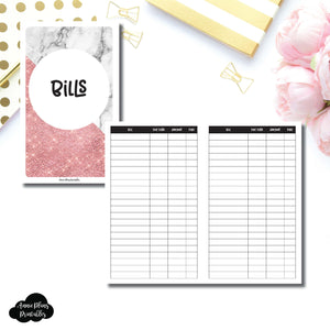 B6 Slim TN Size | Basic Bill Tracker Printable Insert ©