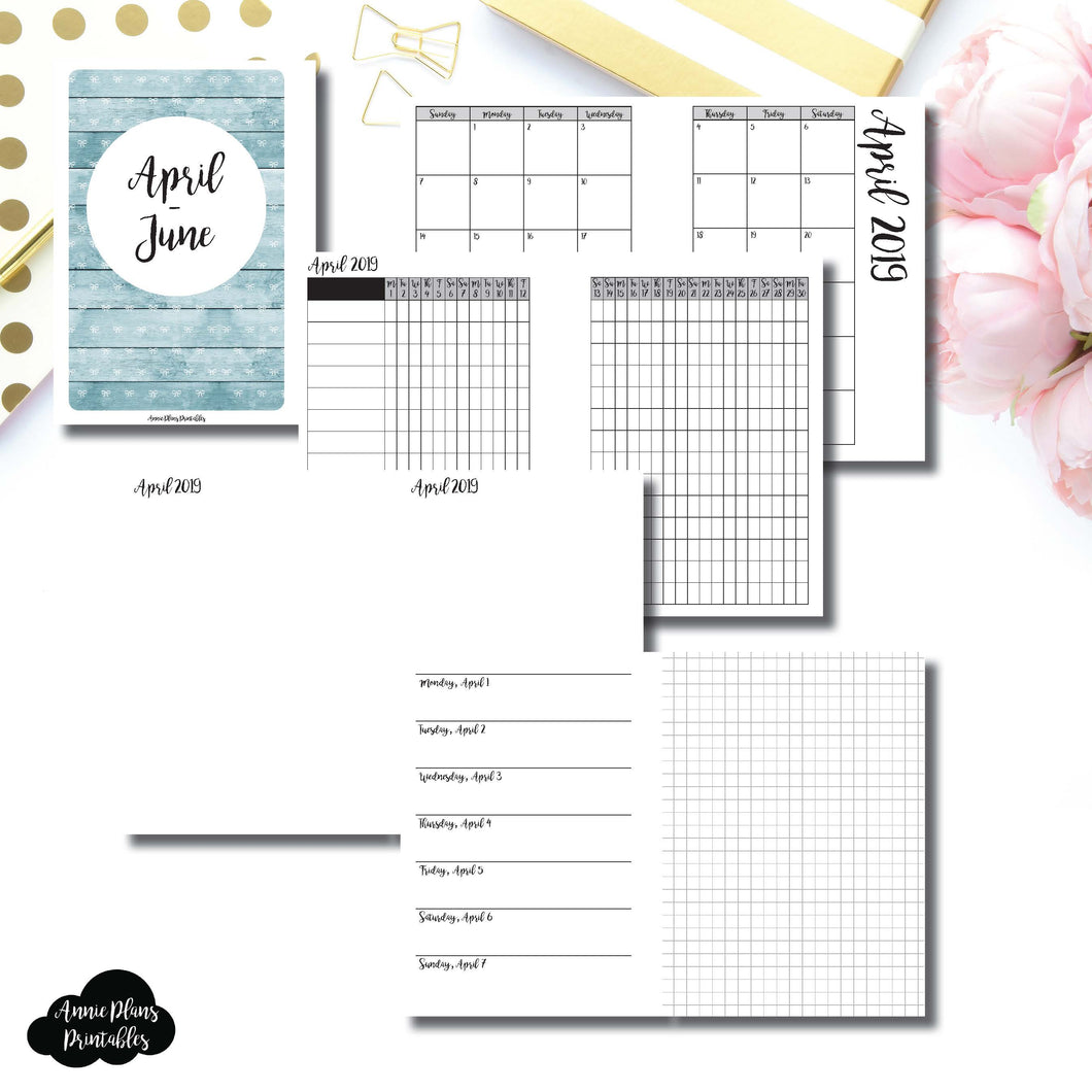 A6 TN Size | APR - JUN 2019 | Horizontal Week on 1 Page + GRID (Monday Start) Printable Insert ©