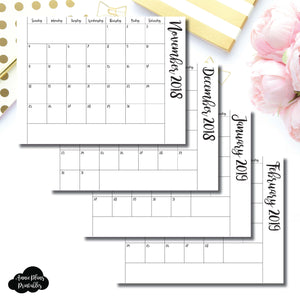A6 Rings Size | 2019 Single Fold Over Monthly Calendar Printable Insert ©
