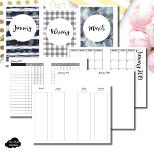 Mini HP Size | JAN - MAR 2019 | Week on 4 Pages (Monday Start) Vertical Layout | Printable Insert ©