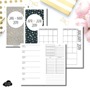 Personal Rings Size | JAN - MAR & APR - JUN 2019 | Week on 1 Page (Monday Week Start) With Trackers + Lists Printable Insert ©