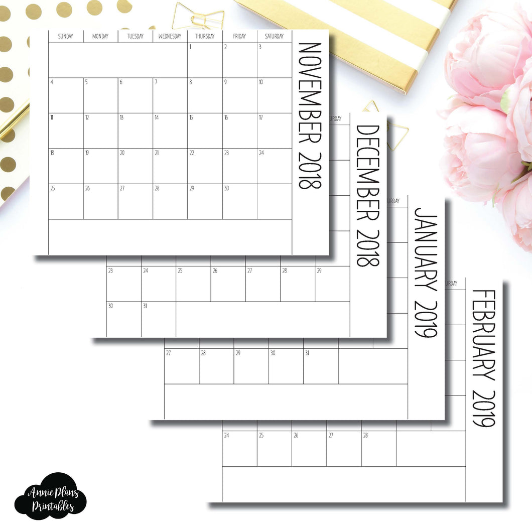 Personal Wide Rings Size | (SIMPLE FONT) 2019 Single Fold Over Monthly Calendar Printable Insert ©
