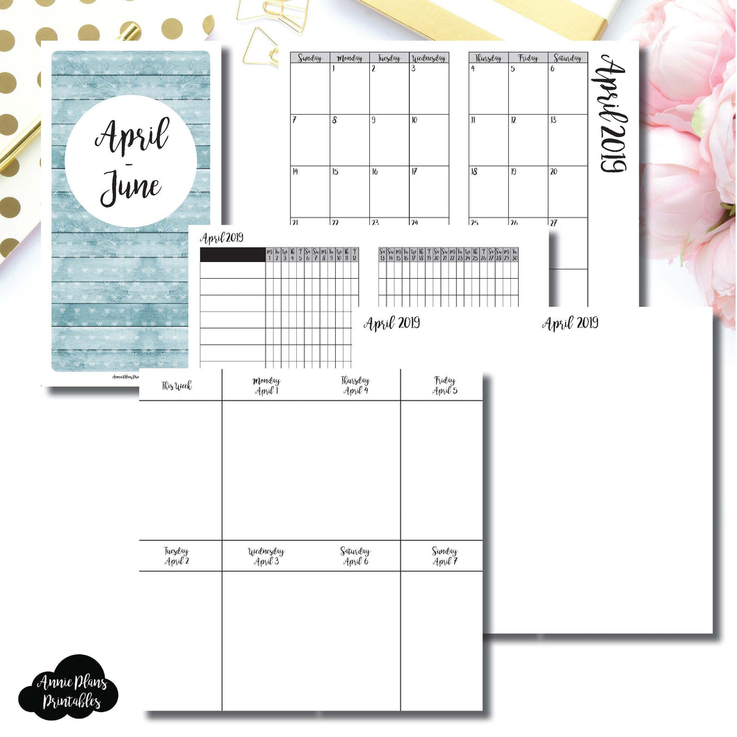 Standard TN Size | APR - JUN  2019 | Vertical Week on 2 Page (Monday Start) Printable Insert ©