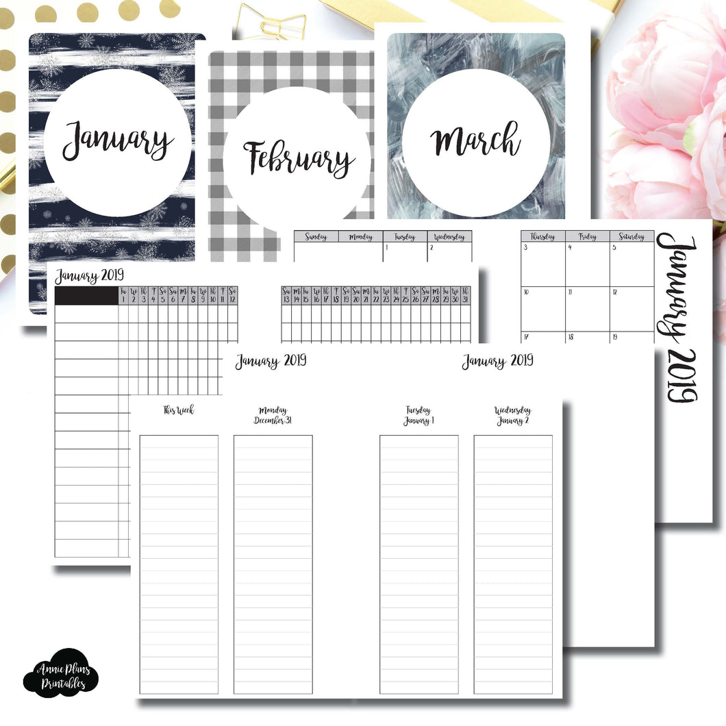 A6 Rings Size | JAN - MAR 2019 | Week on 4 Pages (Monday Start) LINED Vertical Layout | Printable Insert ©