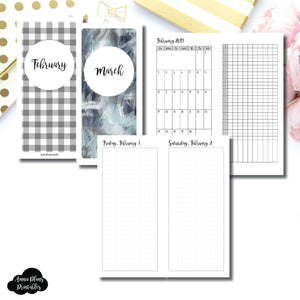 H Weeks Size | 2019 FEB - MAR | FULL Month Daily DOT GRID | Printable Insert ©