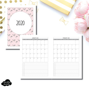 A5 Rings Size | 2020 Single Page Monthly Printable Insert ©