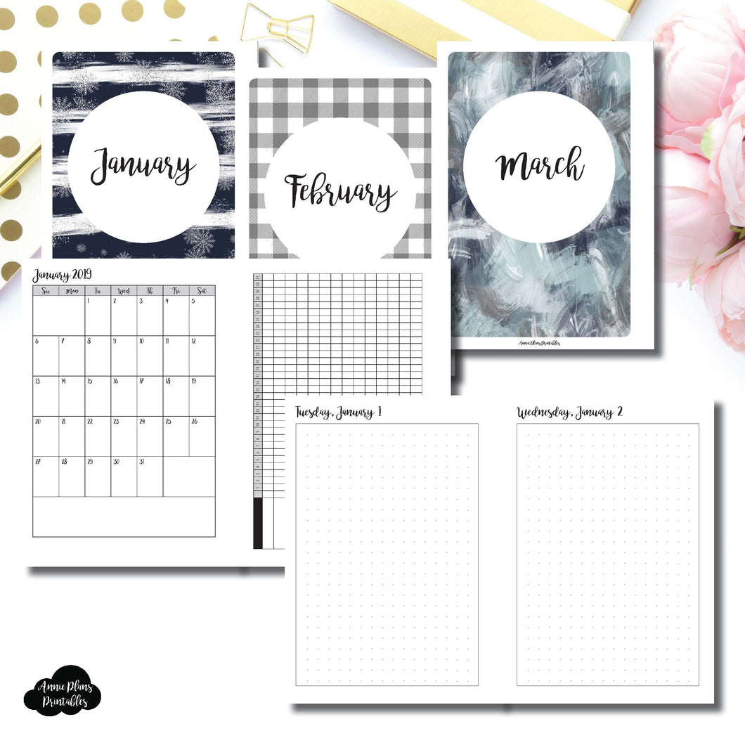 Personal Wide Rings Size | 2019 JAN - MAR | FULL Month Daily (DOT GRID) | Printable Insert ©