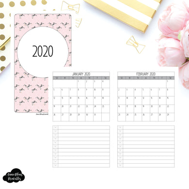 B6 Slim TN Size | 2020 Single Page Monthly Printable Insert ©