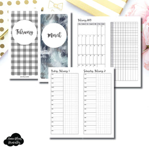 H Weeks Size | 2019 FEB - MAR | FULL Month Daily TIMED | Printable Insert ©