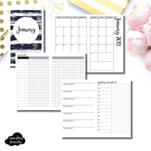 Cahier TN Size | JAN 2019 | Month/Weekly/Daily TIMED (Monday Start) Printable Insert ©