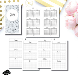 Personal Rings Size | 2019 Year at a Glance on 2 Pages Printable Insert ©