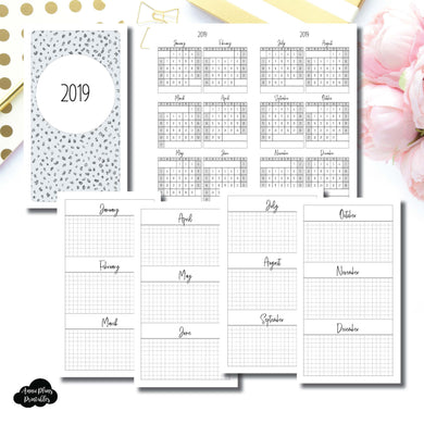 Personal TN Size | 2019 Year at a Glance on 2 Pages Printable Insert ©