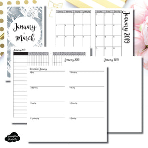 Standard TN Size | JAN - MAR 2019 | Horizontal Week on 2 Page (Monday Start) Printable Insert ©