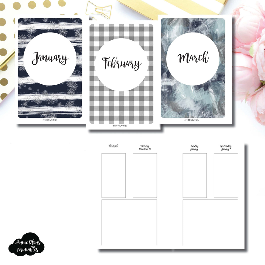 Personal Wide Rings Size | JAN - MAR 2019 Basic Vertical Week on 4 Page (Monday Start) Layout Printable Insert ©