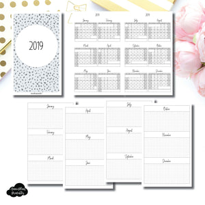Cahier TN Size | 2019 Year at a Glance on 2 Pages Printable Insert ©