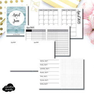 Micro TN Size | APR - JUN 2019 | Horizontal Week on 1 Page + GRID (Monday Start) Printable Insert ©