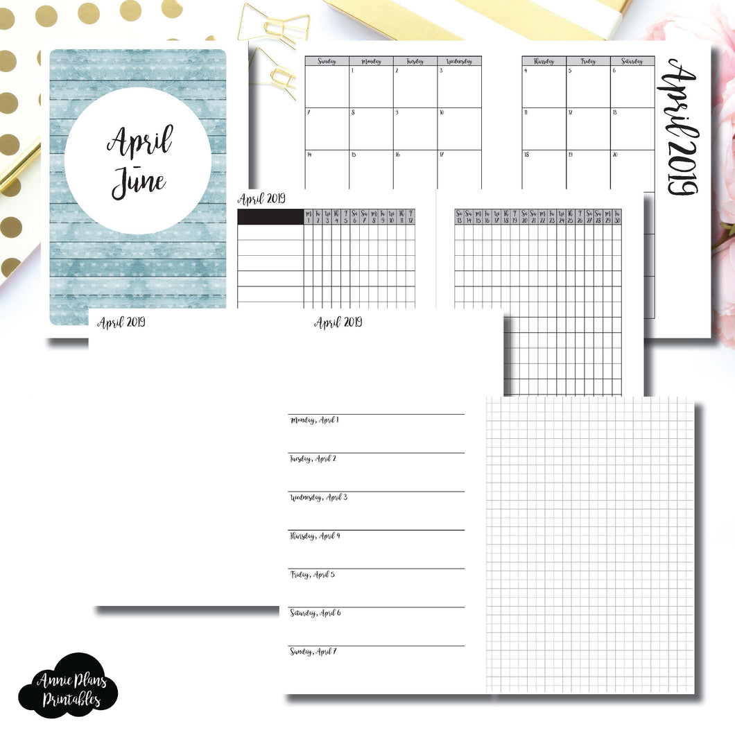 Personal Wide Rings Size | APR - JUN 2019 | Horizontal Week on 1 Page + GRID (Monday Start) Printable Insert ©
