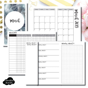 Personal TN Size | MAR 2019 | Month/Weekly/Daily GRID (Monday Start) Printable Insert ©