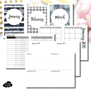 A6 Rings Size | JAN - MAR 2019 | Week on 4 Pages (Monday Start) Horizontal Layout | Printable Insert ©
