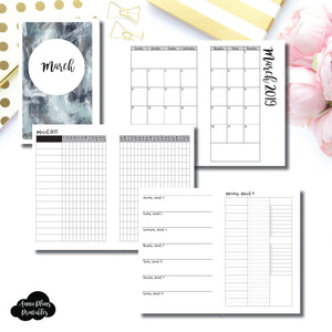 Half Letter Rings Size | MAR 2019 | Month/Weekly/Daily 3 COLUMN UNTIMED (Monday Start) Printable Insert ©