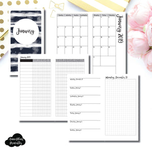 Standard TN Size | JAN 2019 | Month/Weekly/Daily GRID (Monday Start) Printable Insert ©