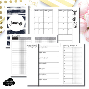 Personal Rings Size | JAN 2019 | Month/Weekly/Daily TIMED (Monday Start) Printable Insert ©