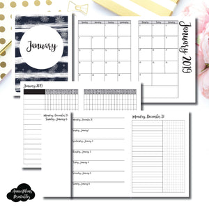 A6 TN Size | JAN 2019 | Month/Weekly/Daily UNTIMED (Monday Start) Printable Insert ©