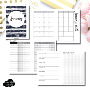 Personal Wide Rings Size | JAN 2019 | Month/Weekly/Daily GRID (Monday Start) Printable Insert ©