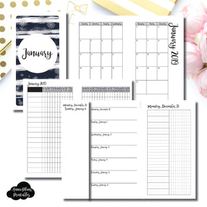 Personal Rings Size | JAN 2019 | Month/Weekly/Daily UNTIMED (Monday Start) Printable Insert ©