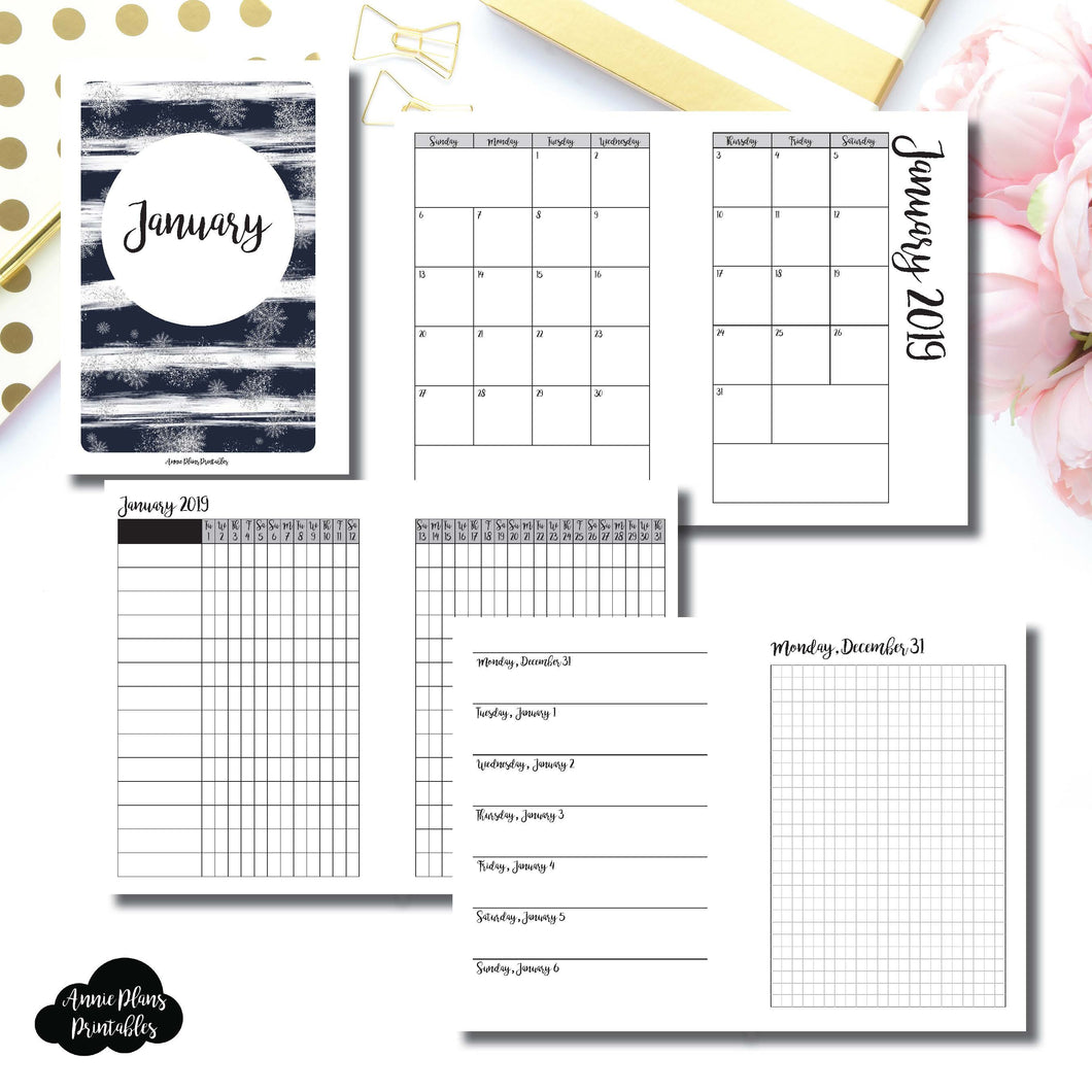 A6 Rings Size | JAN 2019 | Month/Weekly/Daily GRID (Monday Start) Printable Insert ©