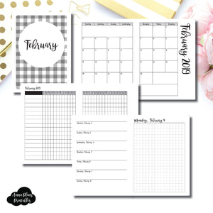 B6 TN Size | FEB 2019 | Month/Weekly/Daily GRID (Monday Start) Printable Insert ©