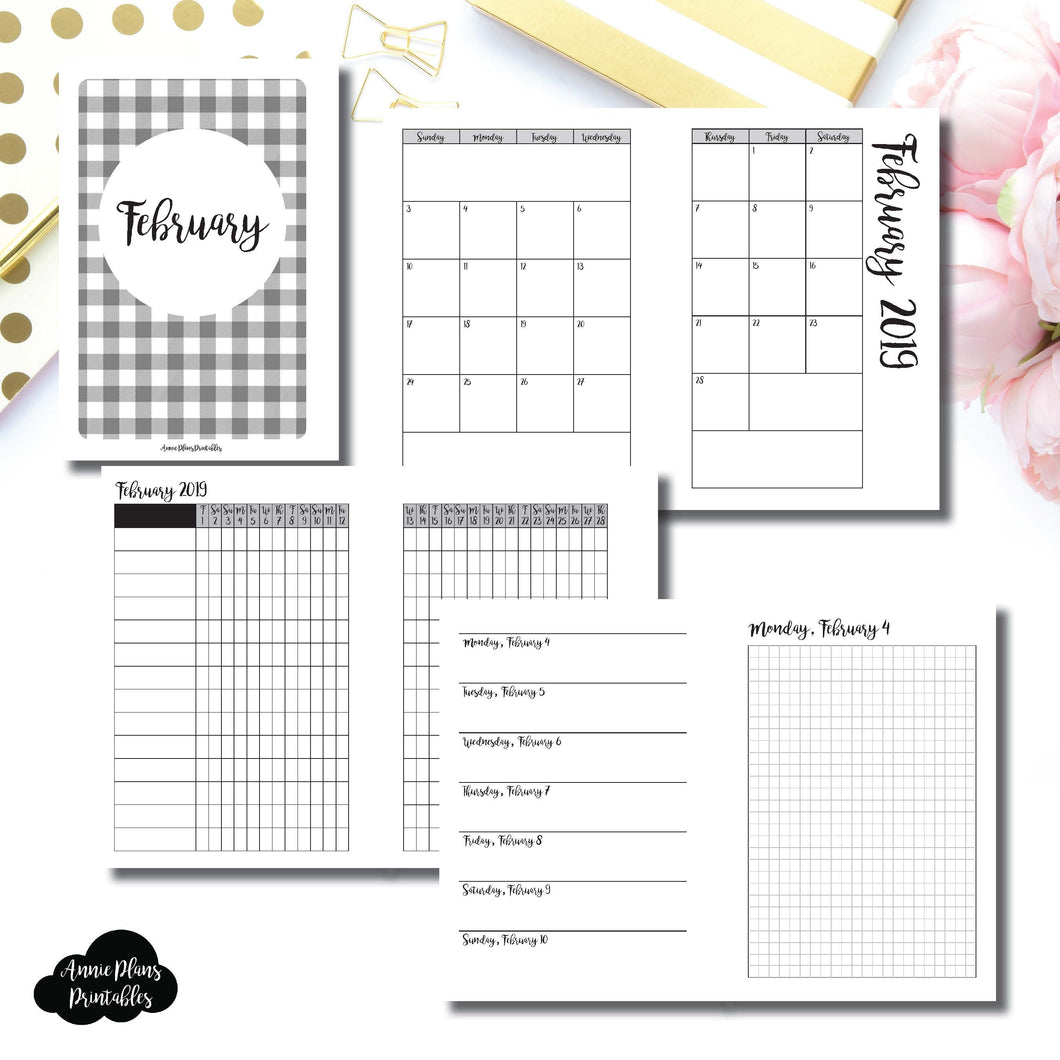 A6 Rings Size | FEB 2019 | Month/Weekly/Daily GRID (Monday Start) Printable Insert ©