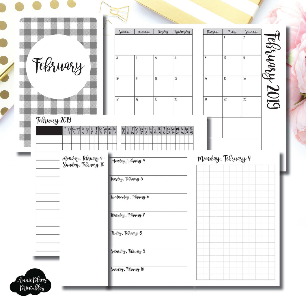 Pocket TN Size | FEB 2019 | Month/Weekly/Daily GRID (Monday Start) Printable Insert ©