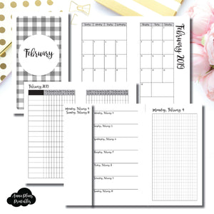 Personal Rings Size | FEB 2019 | Month/Weekly/Daily GRID (Monday Start) Printable Insert ©