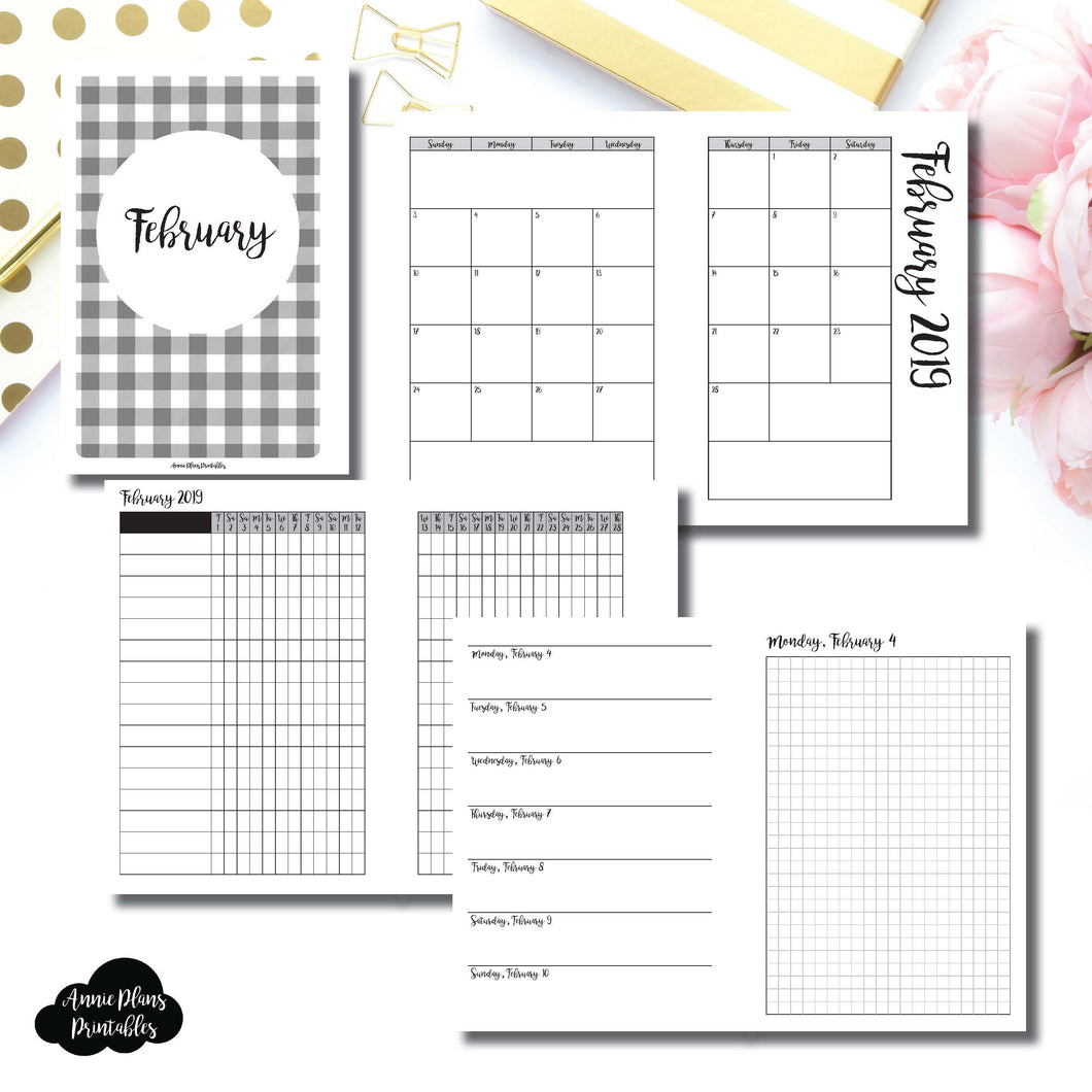 Personal Wide Rings Size | FEB 2019 | Month/Weekly/Daily GRID (Monday Start) Printable Insert ©