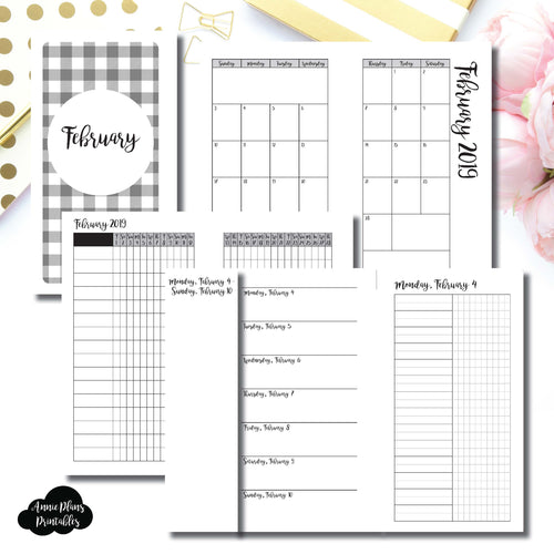 Personal Rings Size | FEB 2019 | Month/Weekly/Daily UNTIMED (Monday Start) Printable Insert ©